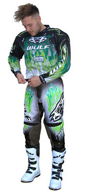 Wulf Attack Adult Green Motocross Kit Off Road Shirt Pants Wulfsport Enduro