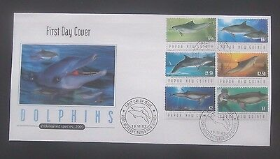 Papua New Guinea-2003-Dolphins/Endangered Species FDC-Port Moresby