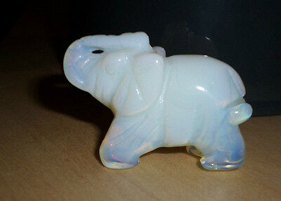 French Opalescent Glass Elephant, Unmarked Possibly Sabino