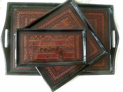Set of THREE Vintage Bagan Hand Painted Incised Lacquerware TRAYS Thailand