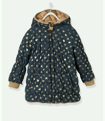 Girls Winter Reversible Jacket Coat Gold Navy Size 4-5y