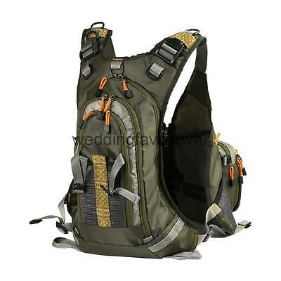 Fly Fishing Mesh Vest Waistcoat Jacket Multi Pocket Adjustable Backpack Bag
