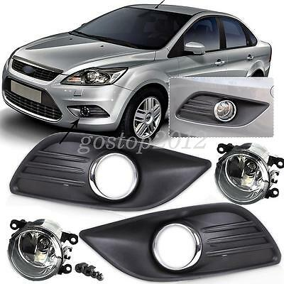 Car Front Fog lights Lamps + Grille Grill Cover for 2009 2010 2011 Ford Focus