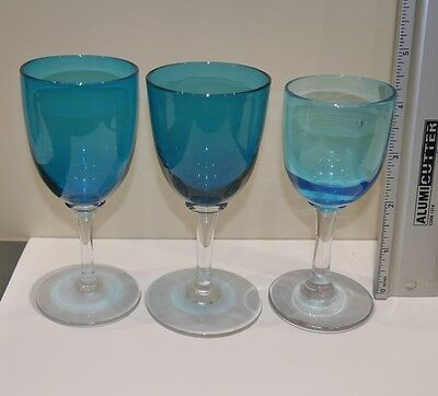 3 antique wine glasses - perfect - beautiful pale blue colour