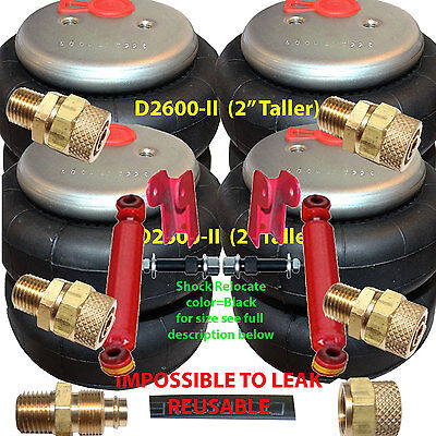 """set of 5 air ride springs lift bags 2/"""" Taller 2600 D-II  1//2/"""" Fittings 7-Switch"""