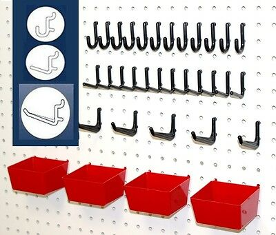 WallPeg 26 PIECE Peg Board Organizer Storage Pack Locking Hooks and Bins Kit