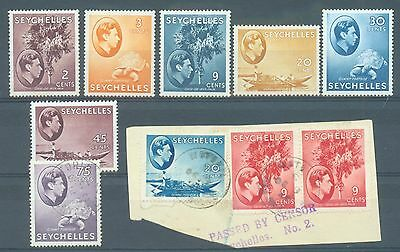 Seychelles 1938-42 six ordinary paper MH plus 4 used (3 on piece)