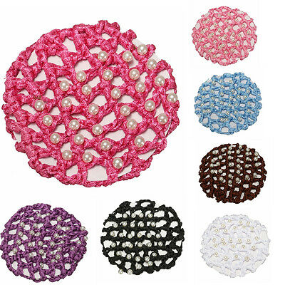 Baby Girls Princess DIY Hair Band Pad Bun Cover Snood Pearl Ballet Dancer Skatin