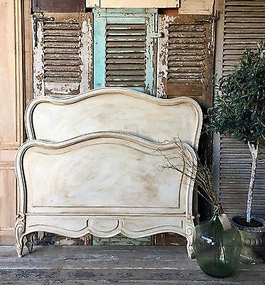 Lovely vintage French hand painted Louis XV double bed frame