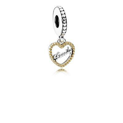 New Authentic Pandora Silver 792011 14K Gold Loving Family Dangle Charm