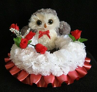 Silk Flower Memorial/funeral/tribute Wreath With A Owl Teddy.