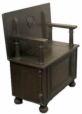 Antique Victorian Dark Oak Monks Bench with Hinged Table Top Lid and Storage Box