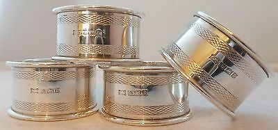Boxed Set 4 Solid Hallmarked Solid Silver Napkin Rings Bormingham 1954