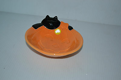 Happy Halloween Pumpkin with black cat Candy Dish Boo!!!!!!