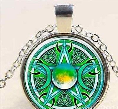Glass cabochon purple celtic moon pentacle pentagram pendant glass cabochon green celtic moon pentacle pentagram pendant necklace uk seller aloadofball Image collections