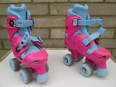 Girls Chad Valley Quad Pink and Blue Roller Skates - Size 10 to 13