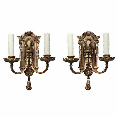Antique Neoclassical Cast Bronze Double-Arm Sconce Pair NSP1106