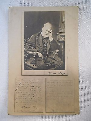 EARLY Vintage Postcard VICTOR HUGO PORTRAIT SIGNATURE POETRY FRENCH POET