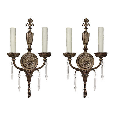 Antique Neoclassical Cast Bronze Sconce Pairs with Spear Prisms, NSP1104