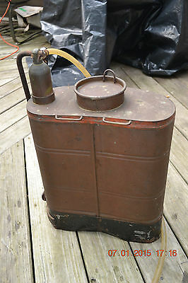 Vtg Antique Copper Brass BACKPACK SPRAYER Lawncare Insecticide Weed Killer tank