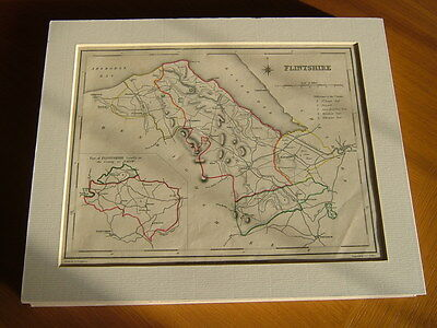Antique Hand Coloured Map Of Flintshire From Lewis' Topographical Dictionary