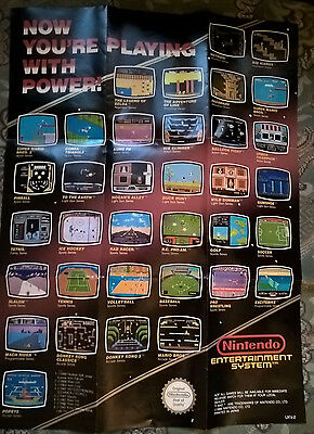 Nintendo NES Now you're Playing With Power Poster UKV-2, Games  1989