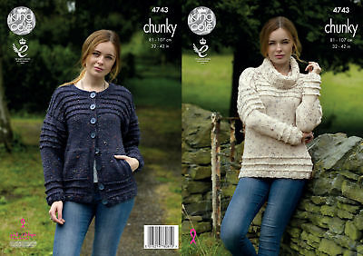 Ribbed Polo Neck Sweater Cardigan Womens Chunky Knitting Pattern King Cole 4743
