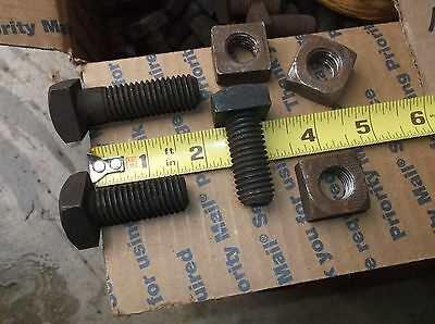 """5/8"""" - 11 X 1 1/2 """"  Square Head Machine Bolts with Nuts  NOS HUGE LOT of 109"""