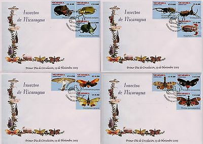 NICARAGUA INSECTS  Sc 2408-2409 SET of 4 FDC 2003
