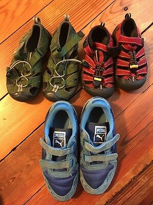 3 Pairs Of Toddler Boys Shoes Sizes 9, 11, 1 Puma And Keens!!