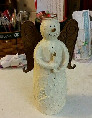Wooden snowman angel