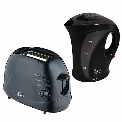 Quest 1.7L Kettle And 700W 2 Slice Toaster With Defrost Setting Set In Black