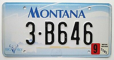 Montana September 2002 Billings MT Yellowstone County License Plate