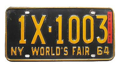 New York 1964 1965 WORLD'S FAIR License Plate SINGLE PLATE YEAR Essex County