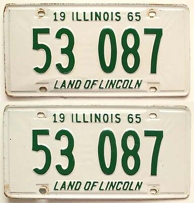 Illinois 1965 License Plate Pair, YOM, Man Cave, Old Car Garage, Bar