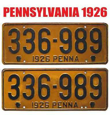 Pennsylvania 1926 License Plates RARE PAIR - Can Be Registered To An Antique Car