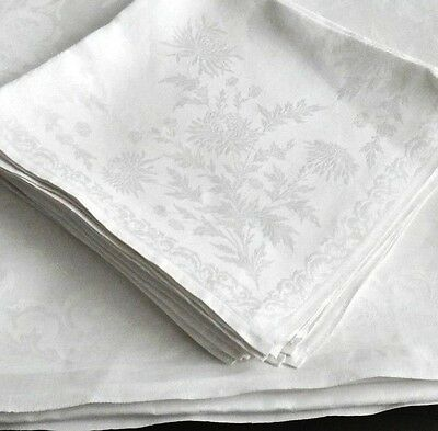 """IRISH HAND WOVEN"" Damask Linen TABLECLOTH 8 Napkins 105"" Chrysanthemums Elegant"