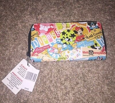 Disney Mickey Mouse Classic Collage Pattern Zip Clutch Wallet