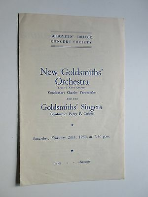 2 Programmes for the New Goldsmiths Orchestra 1953 & 1956