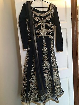 Heavily Embroidered Churidar Dress Suit Black & Gold Size 40