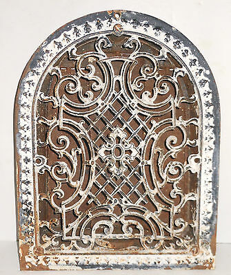 antique iron air vent cover complete with ornate grill & closing slats wall art