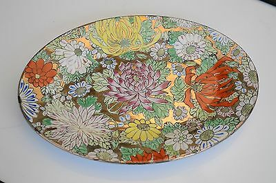 Antique Chinese Pottery Oval Shaped Flower Design Plate