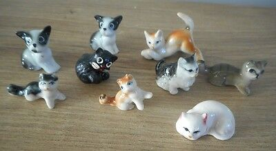 7 miniatures chats en porcelaine
