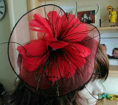 Lovely Red Fascinator / Wedding / Races / Mother Of The Bride / Special Occasion