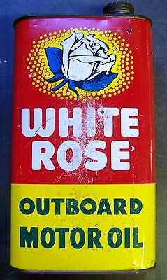 White Rose Outboard Motor Oil Tin Can - 1 Quart - Canadian
