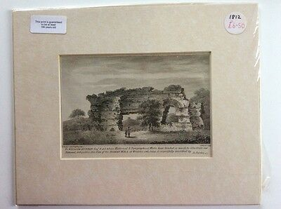 Beautiful Print in mount c1800 Roman Wall Wroxeter Shropshire, lovely Xmas gift!