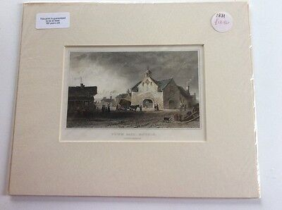 Beautiful Print in mount c1831 Town Hall Ruthin, lovely Xmas gift!