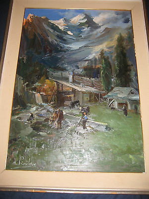 ANTONIO PRIVITERA (CATANIA 1910) ORIGINAL ITALIAN or SWISS ALPS PAINTING