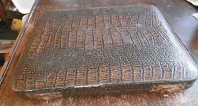 ANTIQUE LEATHER BOUND CUTLERY CANTEEN - 9 x 8 INCH - WOOD FRAME & LINED - VGC !