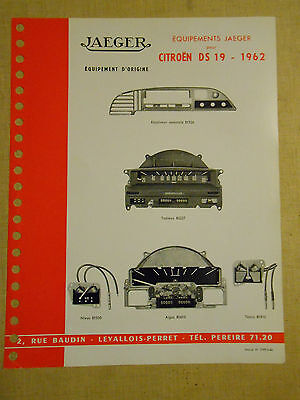 documentation  JAEGER équipements  citroën DS 19 1962